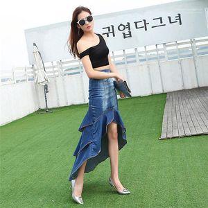 Denim Fishtail Skirt Casual Womens Verão Mermaid Womens Designer Jeans Saia Moda irregular Painéis Hem Grande