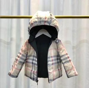 abrigo por la chaqueta de Niños chaquetas de ropa de moda 2019 de la marca muchacha de los niños de abrigo de invierno con capucha Boy caliente gruesa capa de celosía algodón de los niños