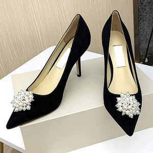 New highquality designer party wedding highheeled shoes bride ladies sandals fashion sexy dress shoes pointed highheeled glitter pearl qxp
