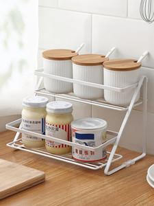 2-Tier Stand Spice Rack، الحمام المطبخ كونترتوب رف التوابل جرة تخزين جرة منظم الرف ، أبيض