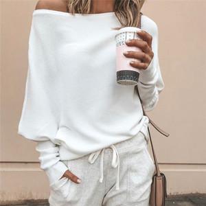 femmes concepteur T-shirts Femme 2019 Sexy Automne de l'épaule à manches longues Hauts pour les femmes T-shirt décontracté dames costales une épaule Tops