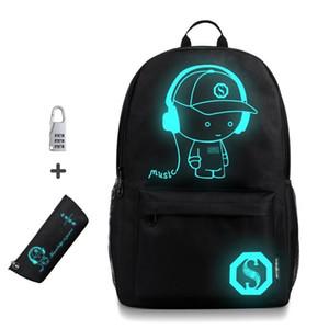 Bolsas anti-ladrón de luz nocturna para niños mochila escolar que caja de lápices de anime mochilas escolares luminosas para niño niña estudiante mochila J190427
