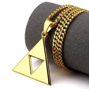 Erkekler Kadınlar Takı Hediyeler için Mens Hip Hop kolye Salkım Hollow Üçgen Geometri Charm Uzun Zincir Bildirimi kolye