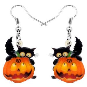 Акриловая Halloween Black Cat Kitten тыква серьги мотаться фестиваль падения ювелирных изделий для девочек Женщин подростков Подвески подарков Горячих продаж