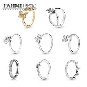 Fahmi 100% 925 sterling argento a quattro petali fiore appeso trifoglio lucido swing bedozzling farfalla lucentezza abbagliante farfalle fiore corona