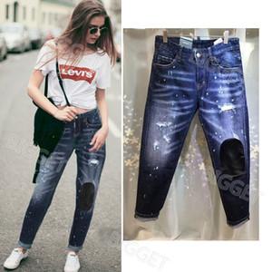 Femme Skinny Jeans 2020 S / S Novo Produto desvanecimento pintado danos rasgado Efeito Jeans magros fitness Denim Trousers legal da menina