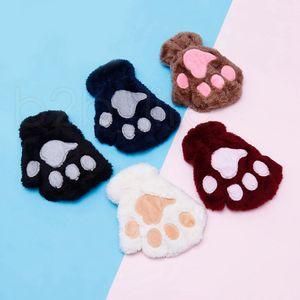 Crianças Fluffy Plush Luvas Luvas patas Mittens Inverno Fashion Girl Stage Executar Prop bonito Cat Claw Glove presentes RRA2232