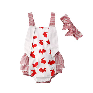 Pudcoco My First Easter Costume Newborn Baby Girl Bunny Striped Jumpsuit 2020 Summer Kids Bodysuit Outfit Headband