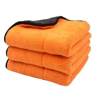 3PCS 45cmx38cm 800GSM Super Thick Plush Microfiber Car Cleaning Cloths Car Care Microfibre Wax Polishing Detailing Towels Soft T200612