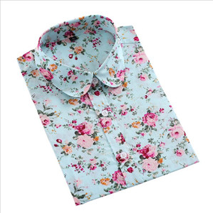 Lapel Pink and Light Blue Shirt Summer New Women Fashion Casual Floral Print Long Sleeve Shirt Designer Women's Tops