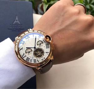 Nuovo stile di alta qualità orologio automatico da uomo in vetro posteriore Tofo volano quadrante cinturino in pelle orologio meccanico Monor Hemmo