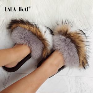 Lala ikai mulheres abertas toe peludo chinelos plana verão moda suave ao ar livre fur slides para senhoras sapatos baixos 014a2322 -4