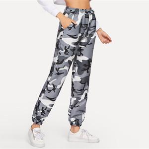 Camo Baskı İpli Bel Pantolon Activewear Konik Sweatpants 2020 Bahar Moda Kadın Rahat Kamuflaj Pantolon