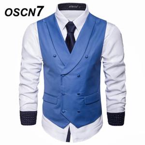 OSCN7 Scialle Risvolto Slim Fit Suit Gilet Mens 2019 New Business Casual Plain Doppio petto Flip Tasche Gilet Uomo MJ003