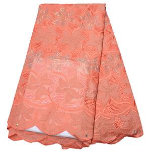 Lace asciutto Uomini Cotone Per tessuti africani del merletto a secco di alta qualità Tessuto svizzero del voile con le pietre merletto svizzero del voile In Svizzera