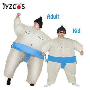 JYZCOS Inflatable Sumo Costume Halloween Costume for Adult Kid Purim Carnival Christmas Cosplay Fan Operated Sumo Wrestler Suits