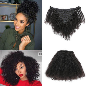 120g / set Clip-in Hair Extensions Afro Kinky كورلي Peruvian Hair كورلي Natural Color 120g / lot Afro Kinky Kery Hair Products