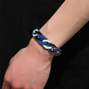 Mens Hiphop Bracelets Designer Fashion Hip Hop Jewelry Ice Out Cool Rapper Chains Bangle Free Shipping