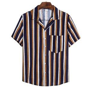 2020 Nuovi Arrivi Shirt Men manica corta estate del Mens cotone e lino Moda Camicie Casual Top Multicolor Striped Beach