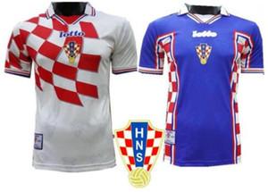 1998 Retro Šuker Edition Croazia Jersey di calcio 1998 World Cup Soccer Shirt Croazia camicia di calcio manica corta uniformi di gioco Vendita