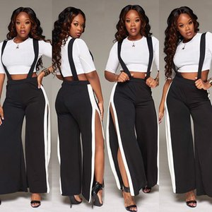 Sexy Night Club Tracksuit Short Crop Top With High Waist Spilt Pants 2pc Set Casual Women Wear For Summer