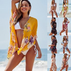 Mujeres Bikini Cover-Ups Floral Impreso Chiffon Beach Smock Wraps Sunblock Sunscreen Shawls Beachwear Swimwear Cape OOA6892
