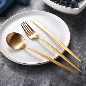 Cuchillo de acero inoxidable mate Oro Vajilla comida cuchara Tenedor cuchara de café cubiertos simple exquisito occidental Cena Postre Cubiertos HHA691