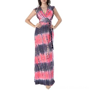 Vfemage Women Sexy Summer Boho Floral Print Ruffle Frill Sleeve Pockets Split Belted Casual Beach Party Wrap Maxi Long Dress 027