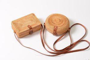 Bolsas de palha redonda Sacos de verão saco de rattan handmade praia transversal bolso saco de corpo círculo bohemia bolsa wcw497