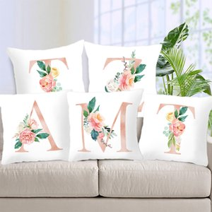 Popular Pillow Cover For Room Necessary 1PC English Alphabet Letter Pillow 45x45cm Flower Pillowcase Home items Case