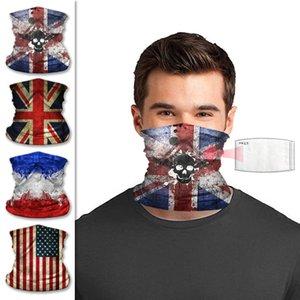 Outdoor da bandeira dos EUA Ciclismo Máscara Skull Scarf Proteção Solar cobrir o rosto Adulto Magia Ciclismo Bandana sem Máscara de Filtro 22 * 32cm 30pcs CCA12171