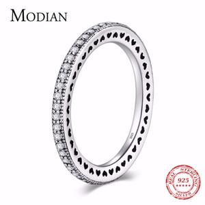 Modian Authentic Luxury 925 Corações de prata Anel Limpar Cz Moda empilhável clássico Vintage For Women Engagement presente C19041704