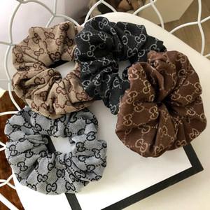 Mulheres Letter G Imprimir cabelo faixa de borracha Meninas elásticos Weave Cabelo Hairband luxo clássico padrão headband Jóias melhores presentes