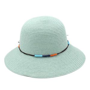Mujeres de las mujeres del ala del sombrero flojo Sombrero Cloche de la playa del verano Sun Bowler Cap DIY Hatband trenzado