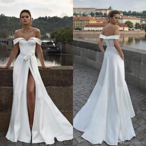 2020 New Helena Kolan A Line Brautkleider weg von der Schulter Split Sash Plus Size Brautkleider Sweep Zug Strand Robe De Mariée 825