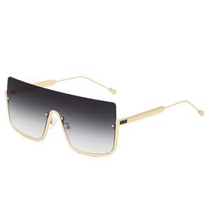 2019 Nuovo Big Box Mezza cornice di un pezzo occhiali da sole Big Box Marine occhiali da sole di uomini e donne transfrontalieri quadrati HD Lens Sunglasses