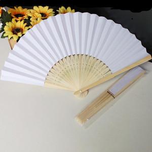 100 шт / много 21 см Свадебный белый цвет бумаги ручной вентилятор Свадебные украшения партии Promotion Favor