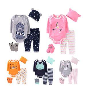 La niña de los niños pantalones al bebé recién nacido arropa sistemas de dibujos animados childern sombreros + pantalones + calcetín del pie Trajes