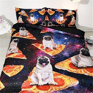 Bulldog pizza 3D Patrón funda nórdica con una funda de almohada de cama Galaxy 3 piezas Set, cubierta del edredón de microfibra, cierre de cremallera, sin cobertores