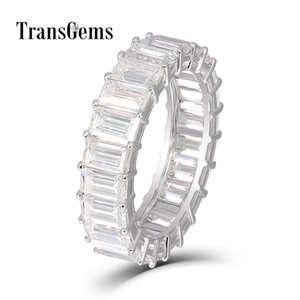 Transgems Emerald Enternity Wedding Band 18K White Gold 3X5MM FG Color Emerald Cutting Moissanite Diamond Wedding Ring for Women Y200620