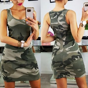 2020 Summer Dress Women Tank Dress Slim Casual Plus Size Dresses Camouflage Military O Neck Print Splice Empire Mini Dress Vestidos