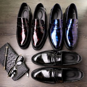 Spring new style men's shoes dazzle colour bright leather to endure dirty recreational leather shoes tide lazy person business men's shoes