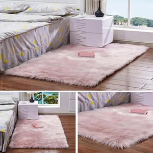 Rosa Faux Fur Rug peluche morbido tappeto di pelle di pecora Faux tappeto di pelliccia Area Rugs per piano camera da letto Bedside Shaggy Silky Tappeti Rettangolo