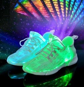 Novos Sapatos De Fibra Óptica Levante-se Sapatos Sapatos Brilhantes Unisex Luminous Crianças Sapatos LED EUR 26-35 USB Recarregável Sneakers Com Caixa de 20