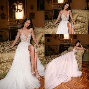 2020 Sexy Gali Karten Split A Abiti Line Wedding Dress cristallo Appliques Perle di spaghetti senza maniche Backless Wedding Boho Abiti da sposa