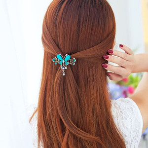 1pc/bag Vintage Style 4 Colors Rhinestone Hairpin Headdress Butterfly Shape Hair Clips Hair Accessories For Women