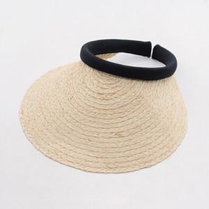 wholesale Sun Visor Summer Beach Women Hat 2017 Natural Raffia Straw Hats with Wide Brim Handmade Hats