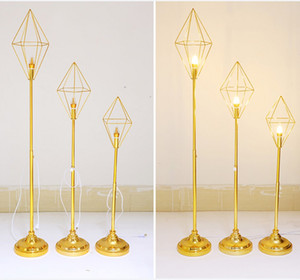 New Geometric diamond metal stand road lead with led light for wedding walkway aisle party event T- Stage backdrops decor