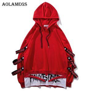 Aolamegs Hoodies Men Fake 2 Piezas Cintas Hooded High Street Pullover Sudadera Hombres Moda Hip Hop Streetwear Hoodie Otoño SH190701