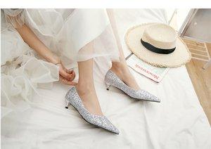 Серебро Люкс Свадебная обувь Кружева аппликация скольжению на Bridesmaids обувь Кристалл Заостренный Toe 2019 Новые женщин Насосы Розовый Свадебная обувь 33-40